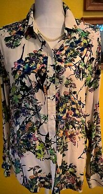 550adba235ad1 Joe Fresh Women s Floral Button Front 100% Silk Top Shirt Blouse XL