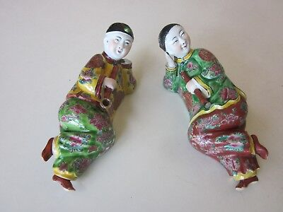 Anitque Chinsese Porcelain Reclining Figures of Opium Smokers