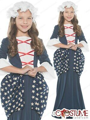 Betsy Ross Girls Colonial Costume Colonial Outfit Kids 4th July Mob Hat Dress