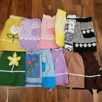 Vintage lot of 12 Cloth Waist Aprons Handmade Floral Striped Solid Clean Retro