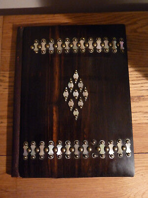 Antique Coromandel Desk Blotter with Mother of Pearl and Brass Decoration