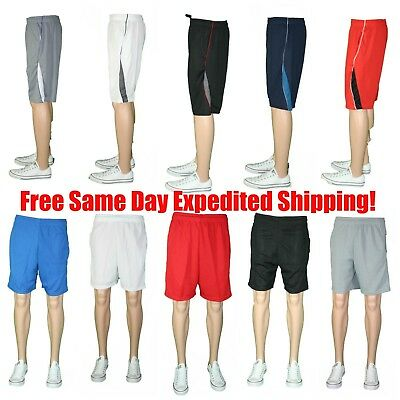 M-5X 3/5/8 Lot Mens Athletic Jersey 2 Pocket Mesh Shorts Gym Workout Basketball