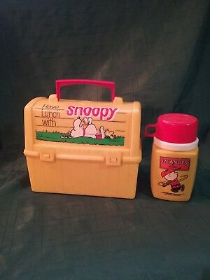 Vintage 1968 Snoopy Yellow Plastic Lunch Box And Thermos, Peanuts, Woodstock
