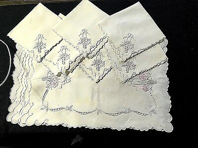 Edwardian Snow White Linen Hand Embroidered Luncheon Set of Six Placemats & Six
