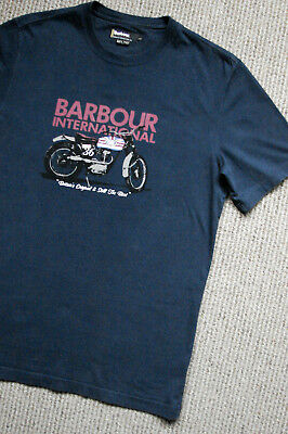Barbour International Navy Cotton Knit Graphic Design Motorcycle S/s Tee Men's L
