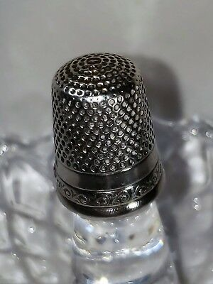 Antique Sterling Silver Thimble by H. Muhr's Sons Crown Logo, Circa 1886 Size 8