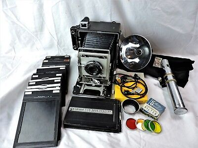 Professional Speed Graphic Camera Large Format 4X5 w Case & Accessories