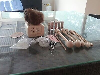 Doll Making Tools And Parts, Doll's Wig and 5 Porcelain Paints