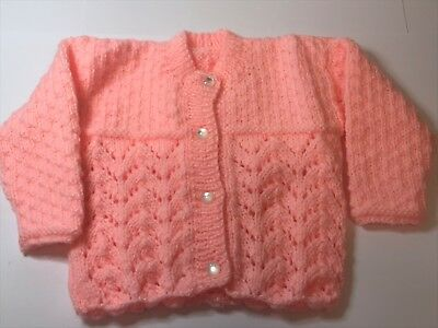3-6 Months Baby Girls Peach Hand Knitted Cardigan