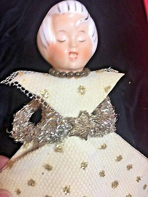 ANGELS ACTN AMAZING 1950s MESH CERAMIC HEAD MERCURY BEAD NECKLACE TREE TOP ANGEL