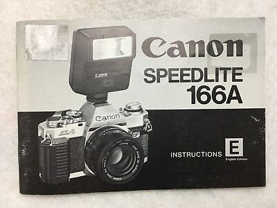 Vintage OEM Genuine Canon Speedlite 166A Instruction Manual Guide Book English
