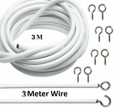 4m Net Curtain Wire White Window Cord Cable Voile Rod Panel with HOOKS 4 Meter X