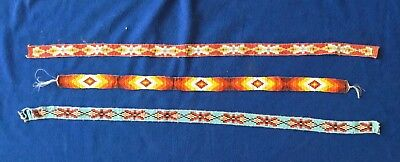 3 Native American Glass Beaded Sash Belt/hat Band Blue Red Orange Southwest Vtg