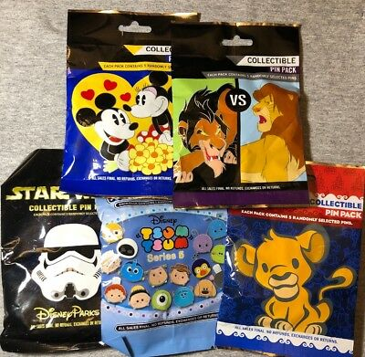 Disney Authentic 25 Pin Trading Lot Unopened Booster Pin Packs (Mixed AsShown E7