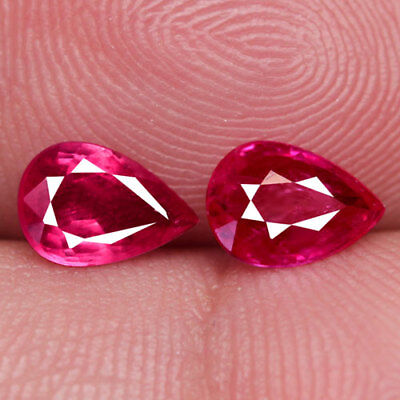 1.44Ct. Matched! Pear Facet Redish Pink Natural Ruby Mozambique