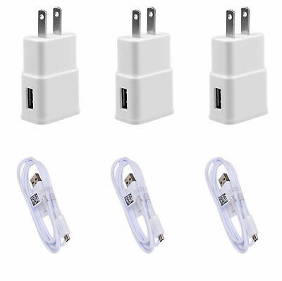 3x Wall Chargers Micro USB Cable+Adapter Power Sync Cord OEM Quality 2A / 5V