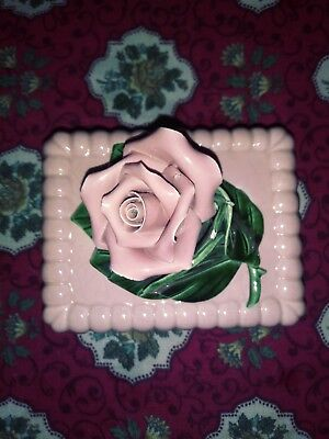 Pink Vintage Ceramic Rose Trinket Box with Lid Shabby Chic