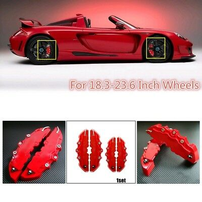 2 Pairs 3D Red Car Disc Brake Caliper Covers Front/&Rear For BMW Benz Suzuki Audi