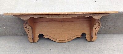 Vintage Antique Carved Oak Mantle Clock Wall Shelf Farm Kitchen Parlor