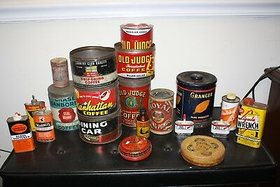 20 Vintage Tin Cans True Collector Lot Coffee Tobacco Oil Lead Caps Quality