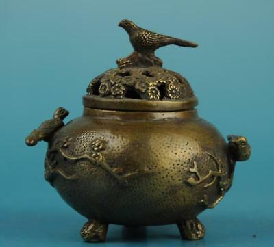 Chinese old copper hand-carved bird and flower incense burner c01