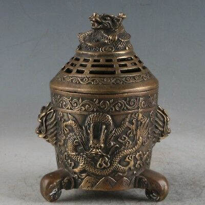 Chinese Brass Hand carved Dragon Lion Incense Burner w DaQiang Marks