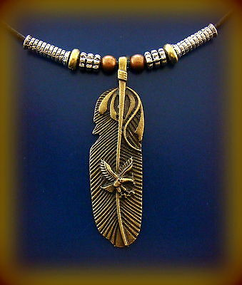 INDIAN theme FSU.Feather PENDANT Necklace Jewelry-Antique look - Florida State