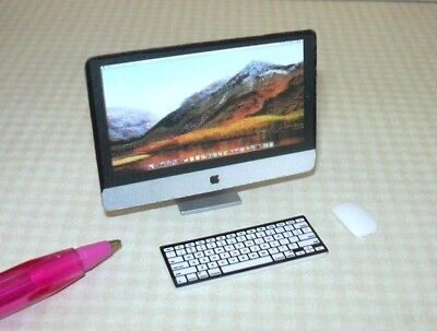 Miniature Silver Plastic 3-Piece Desktop Computer w/3-D Screen: DOLLHOUSE 1:12