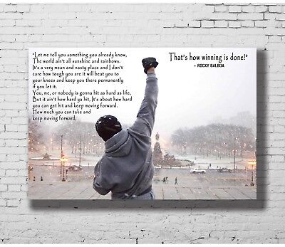 Hot Gift Poster Rocky Balboa Motivational Quote Sylvester Stallone 36x24 F-1352