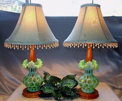 "FENTON GLASS""VINTAGE~SRC~40s""PAIR""20""LAMP(s)LIME OPALESCENT""COIN DOT+SHADES~XLNT"