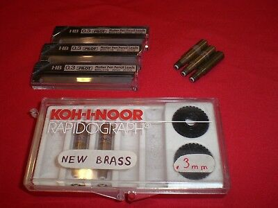 Koh-I-Noor Rapidograph Brass pencil holders. .3 .5 Sizes Pilot Leads PPPL-3-HB