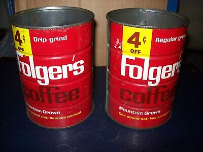 Vintage Folgers Regular And Drip Grind Coffee 1 Lb Metal Can Lot Of 2 No Lids