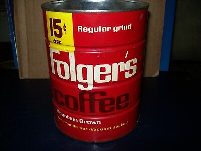 Vintage Folgers Mountain Grown Regular Grind Coffee 2 Lb Metal Can No Lid