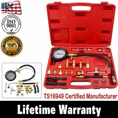 New 0-140 psi Gasoline Fuel Injection Pump Pressure Tester Gauge Kit System US