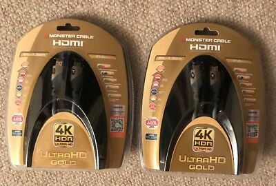 Lot of 2 - 4K HDR Ultra HD Gold Monster Cable 60Hz 21.0 Gbps 6ft Premium HDMI