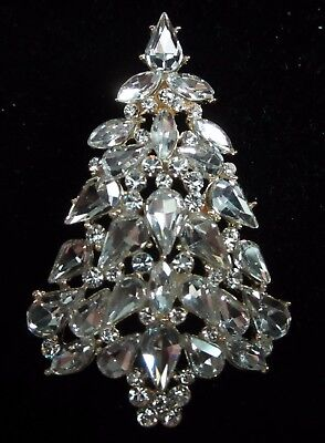 Huge Crystal Rhinestone Christmas Tree Brooch Pin
