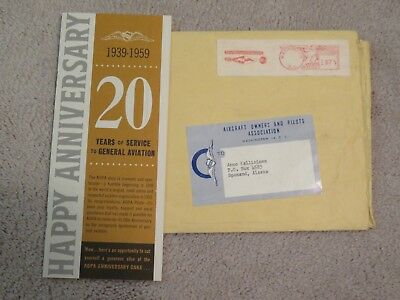 Vtg 1959 AIRCRAFT OWNERS And Pilots Association AOPA Aviation Stamped Envelope