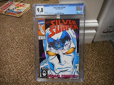 Silver Surfer 49 cgc 9.8 Marvel 1991 MINT WHITE pgs Cool cover movie Fantastic