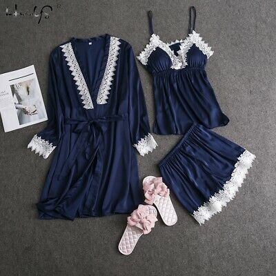 Women Silk Satin Pajama 3PCS Night Dress Sleepwear Long Robes Nightwear Gown Set