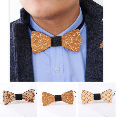 New Men Wooden Bow Tie Accessory Wedding Gifts Bamboo Wood Party Decor Bowtie
