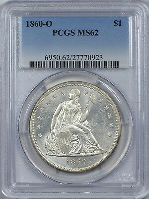 1860 O Seated Liberty Silver Dollar PCGS MS62 - Lustrous