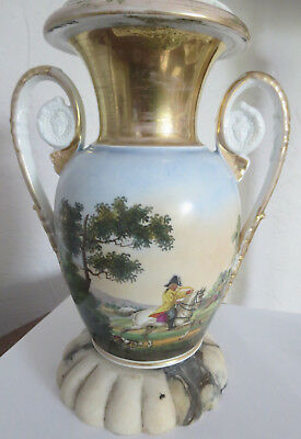 Antique Old Paris French Porcelain Hunting Scene Handled Urn