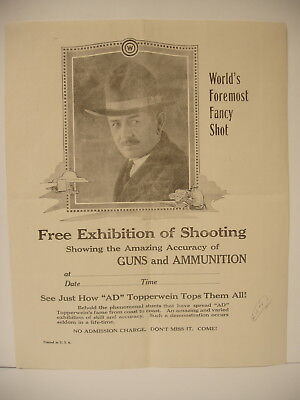 Orig Winchester AD Topperwein Free exhibition Poster Advertising Sign broadside