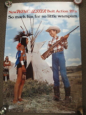VINTAGE Winchester bolt action 22s much fun wampum Paper Poster Advertising Sign