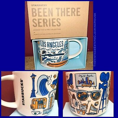 NWT Starbucks Los Angeles BEEN THERE MUG 14 Oz Blue & Gold LIMITED EDITION 2018