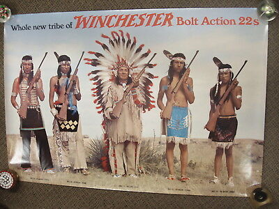 VINTAGE Winchester New Tribe 22s bolt action Paper Poster Advertising Sign
