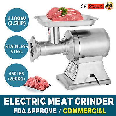 1100W Commercial Electric Meat Silcer Cutter Automatic W/2 plates Meat Grinder
