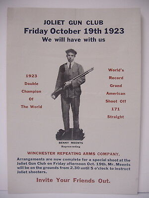 Orig Winchester Benny Meents exhibition Paper Poster Advertising Sign broadside