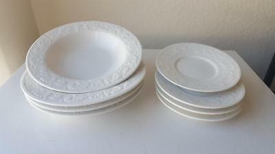 8 Piece Embossed Farberware Alsace Rimmed Soup/Cereal Bowls & Saucer White #4242