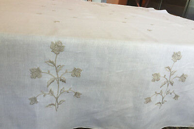 Vintage Embroidered Linen Tablecloth Beige Roses on Ivory